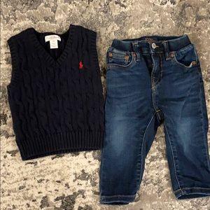 Polo Ralph Lauren jeans and Sweater vest 12m boy